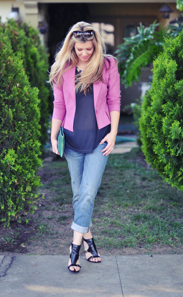 boyfriend jeans +  ankle heels + sheer top + pink jacket + cat eye sunglasses