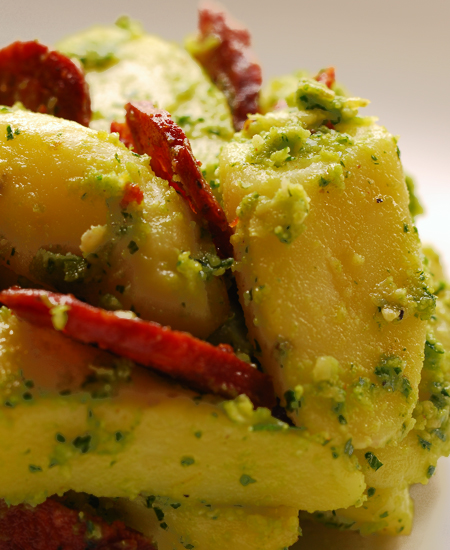 kipfler potato salad with parlsey pesto and chorizo