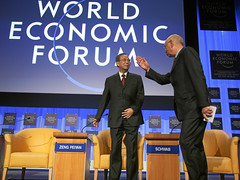 Zeng Peiyan, Klaus Schwab - World Economic For...