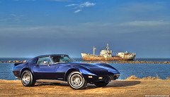 Corvette and the Old Ship (Mishari Al-Reshaid Photography) Tags: blue sea classic cars chevrolet car vw photoshop eos seaside automobile cs2 chevy autos digitalrebel corvette canoneos hdr photoshopcs2 classiccars automobiles q8 carphotos carphotography artphoto oldships chevycorvette gtm carphoto oldship photomatix vwc classiccorvette q80 canonllens xti 400d mishari eos400d canoneos400d digitalrebelxti canon400d canonef24105f4lis aplusphoto kuwaitphoto kuwaitphotos kuwaitcars kvwc excapture kuwaitartphoto gtmq8 kuwaitart kuwaitvoluntaryworkcenter kuwaitvwc grendizer99 hyperdynamicrange kuwaitphotography grendizer99photos misharialreshaid 1976corvettestingray malreshaid misharyalrasheed