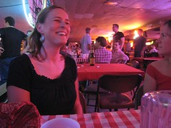 Ann smiling (mollyali) Tags: table ann austintx brokenspoke honkytonk twostepping
