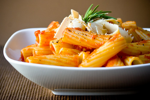 Rigatoni with Rosemary, Black Pepper, and Smoked Cheddar Sheese