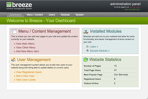 Admin Dashboard of Breeze CMS | Flickr - Photo Sharing!