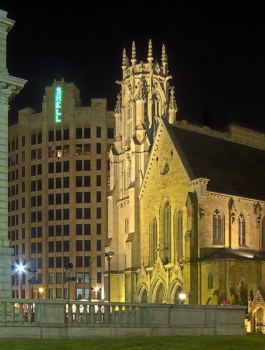 Shell Building and Episcopal Cathedral at night, in Saint Louis, Missouri, USA