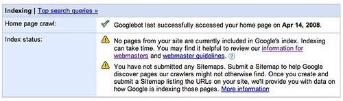 Google Webmaster Tools Error