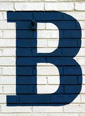 Serifed Blue Capital Letter B On Brick (Silver Spring, MD) (takomabibelot) Tags: blue b white brick geotagged maryland letter bb silverspring oneletter serif majuscule philadelphiaavenue geo:lat=38989401 geo:lon=77025106 gistavenue eddiesautobody