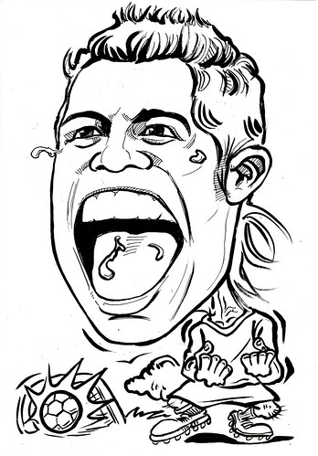 caricature Cristiano Ronaldo ink outline