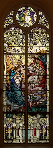 Saint Anthony of Padua Roman Catholic Church, in Saint Louis, Missouri, USA - stained glass window of the Coronation of Mary
