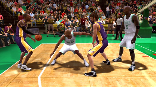 Kobe Bryant and Pau Gasol work the Celtic defense with a strong two-man game.