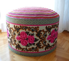 pouf (atolye afra) Tags: pink home floral vintage colorful interior crochet decoration livingroom cotton ottoman decor pouf