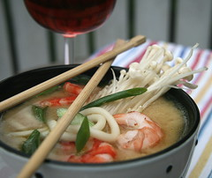 most delicious soup (a.rud.beth) Tags: soup miso udon japanesestyle enoki springonion originalrecipebydonnahaywereplacedchickenwithprawns