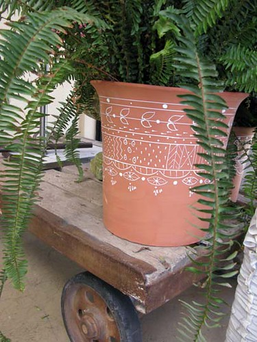 terra cotta pot with puffy paint