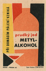 czechoslovakian matchbox label (maraid) Tags: food glass warning bottle czech prague praha alcohol packaging czechrepublic 1960s poison 1962 homebrewing czechoslovakia czechoslovakian matchboxlabel methanol solosusice uuzo