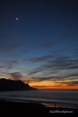 Beaches - San Francisco - Baker Beach - Sunset and a Crescent Moon (Darvin Atkeson) Tags: ocean desktop sunset sea wallpaper portrait usa moon color beach nature americ