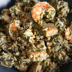 farro with grilled shrimps & shrooms, crab, & pesto