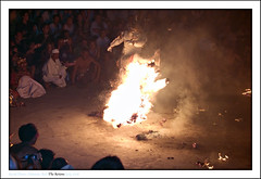 And ... he kicked it! (zuki12) Tags: bali ball indonesia temple fire kick uluwatu kecak hanoman beautifulbali