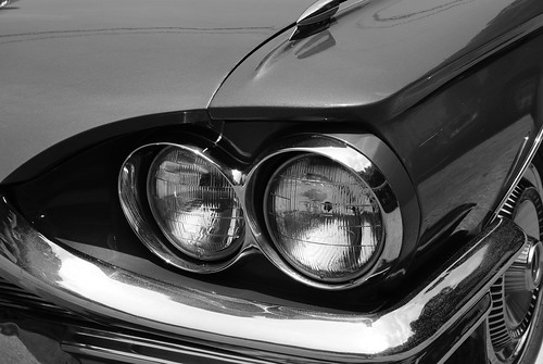 65 Ford Thunderbird in black and white