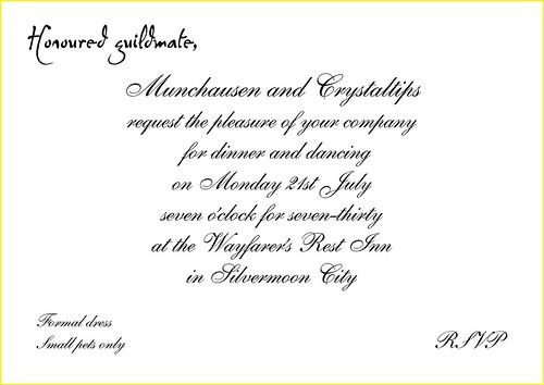 Guild Dinner Party Roo Reynolds – Invitation to Dinner Party