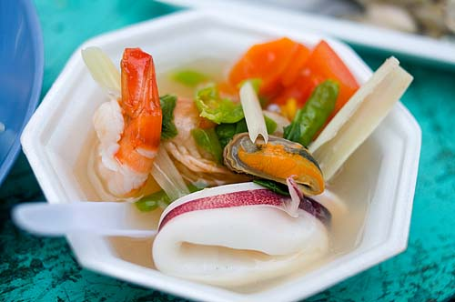 Tom yam po taek, seafood tom yam with holy basil leaves, Bang Saen