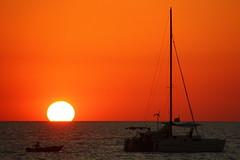 Sunset (Steffen und Christina) Tags: ocean sunset red sea orange sun rot water boot boat meer wasser sailing ship sonnenuntergang yacht nt australia darwin catamaran australien sonne silhoutte segelschiff horizont touching berhren mindilbeach ozean nothernterritory katamaran berhrt