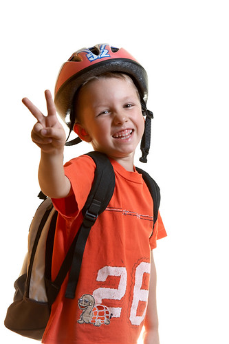 Smiling kid in sportwear