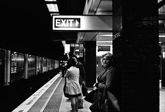 ...and out of the blue, it's 6 o'clock. time to make my exit. (two40) Tags: street clock station train time central sydney 400 neopan exit xtol olympus35sp