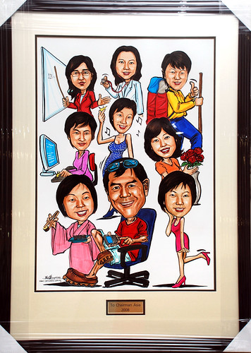 Caricatures for Spencer Stuart (HK) framed