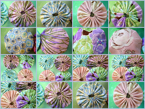 Collage of Cotton Yo-Yo's for Quilting