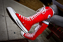 RED CHUCKERS in Ann Arbor (RichardDemingPhotography) Tags: nike pumas chucks laces chucktaylors allstars tennisshoes chucktaylorallstars pumashoes converseshoes dieselshoes hightopshoes amazingmichigan lowtopshoes classicchucks chuckswet chucksindew