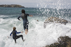 Rock jumpers at Bondi (Wanderer and Wonderer) Tags: ocean friends people news beach water bondi danger swim photo dangerous jump rocks waves risk photos stock dive sydney teenagers australia spray editorial risky sydneystockphotos sydneynewsphotos