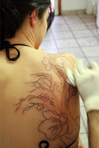 Making Cherry Tree Flower Tattoo on Girl