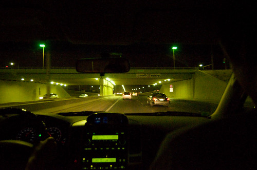 Driving at night on the Faheel Expressway in Kuwait