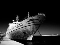 Maxim Gorkiy docked in Rhodes (lefteris_) Tags: sea bw port harbor greece cruiseship rodos rhodes rhodos  abigfave leicadigilux3