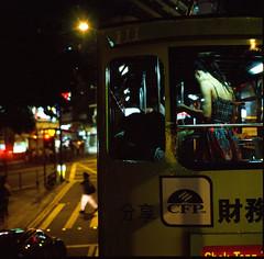 night tram story (zyryntyrah) Tags: road street film night hongkong fuji crossing ride tram slide double hasselblad zebra positive gaye decker wanchai carlzeiss hasselblad500cm planar80mmf28 provia400x sirintira zyryntyrah