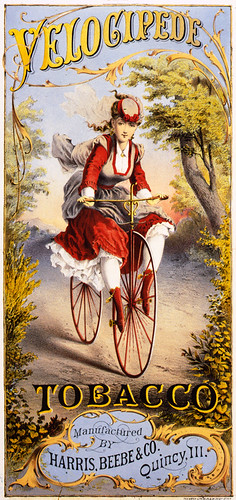 Velocipede, tobacco label, 1874