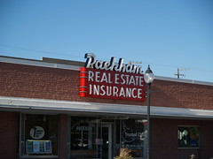 Red Packham (Phydeaux460) Tags: sign vintage neon packham blackfootidaho realestateinsurance