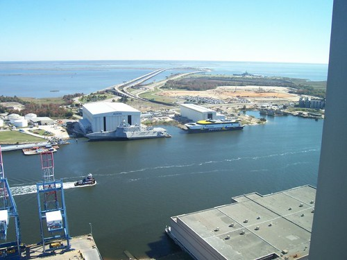 Mobile River, Austal Shipbuilding, from 29th floor, RSA Tower
