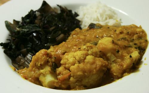 Dal with Cauliflower, Greens and Basmati Rice