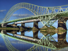 Runcorn Bridge (JazzSP8) Tags: bridge reflection water mr hdr sunnyday runcorn wwh manchestershipcanal mirrorreflection photomatix greatphotographers widness platinumphoto flickraward platinumheartaward runc