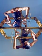 V a n i t y . I I I (Morgan Fuse) Tags: man circle naked fire mirror candle vanity egg angelo dimension candela barock barocco specchio cornice narcissus riflesso uovo thelastone vanit speculo thethirdpanel marcofiorello