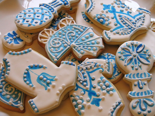 Delft Tile-inspired Baby Shower Cookies