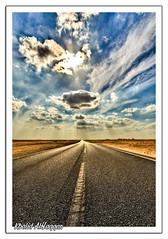 Fasten your seat belt (Khalid AlHaqqan) Tags: road street travel cloud sun clouds highway desert kuwait khalid hdr souqsharq sharq kuwson alhaqqan