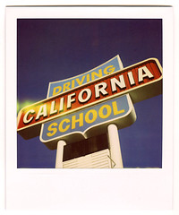 california driving school. monterey park, ca. 2008. (eyetwist) Tags: signs sign analog polaroid sx70 typography la losangeles los angeles ishootfilm socal 600 signage type letter modified alphabet analogue 2008 montereypark pola polaroid600 modded nofilter timezero typographic landcamera polaroid779 779 iso640 60fwy eyetwist typographyandlettering sx70landcamera nond californiadrivingschool ca60 ishootpolaroid sx70lives sx70uses600or779