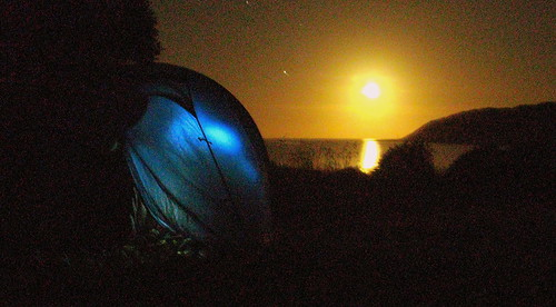 Marfels Beach Campground at night, New Zealand