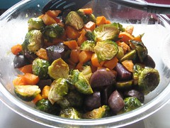 Roasted Brussel Sprouts, Purple potatoes, sweet potatoes, and butternut squash