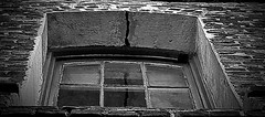 crack (peggyskng) Tags: old windows shadow bw reflection brick window glass reflections dark blackwhite alley decay charleston windowsill charlestonsc oldbuilding brickbuilding peggyskng