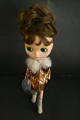 Isabella with Blythe Chic Furlicious Gold Leather Coat