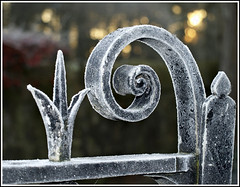 Jack Frost wos 'ere (dingerthetwinger) Tags: morning winter church frosty icy jackfrost gatepost olympuse410 desertcreat