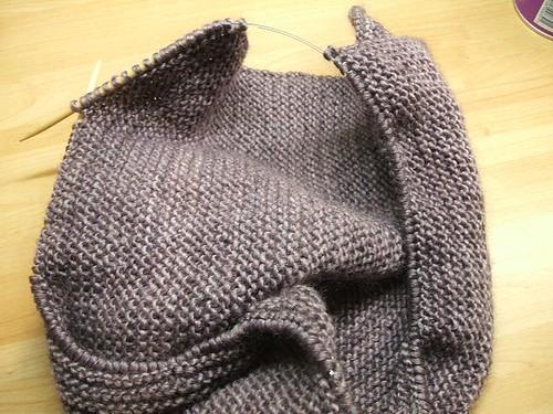 Lengthways garter stitch scarf
