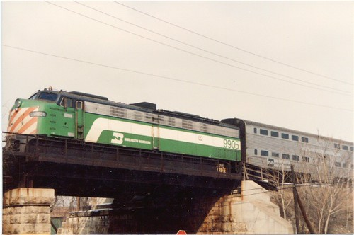 Eastbound Metra / Burlington Northern commuter train departing La Grange Illinois. Febuary 1986. by Eddie from Chicago